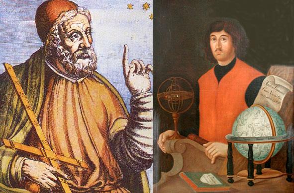 Слева - Птолемей, справа - Коперник.