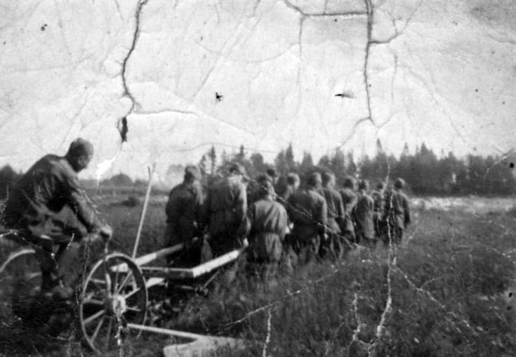 Советские военнопленные, запряженные в плуг, 1941 г.