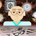 Папа ремонтирует часы