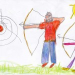 Я учу папу стрелять из лука