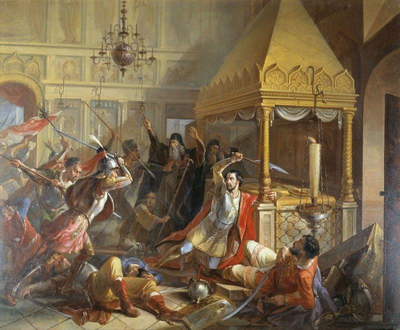 Предсмертный подвиг князя М.К.Волконского, сражающегося с ляхами в Пафнутьевском монастыре в Боровске в 1610 году. В.К.Демидов.