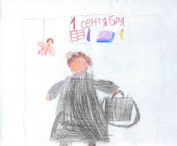 Рисунок дочки: Папа уходит в школу, вид сзади