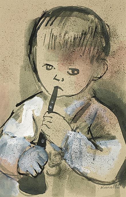 "Rajmund Kanelba. ""Boy playing the flute"""