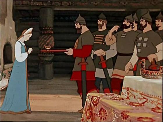 """Кадр из мультфильма """"Сказка о мертвой царевне и семи богатырях"""""""