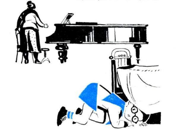 """Иллюстрация к рассказу А. Раскина """"Как папа учился музыке"""""""